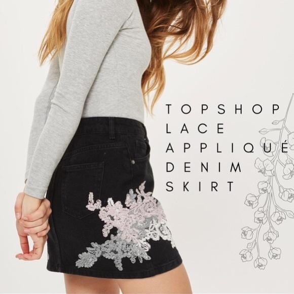 Topshop Dresses & Skirts - Denim mini skirt with lace applique details